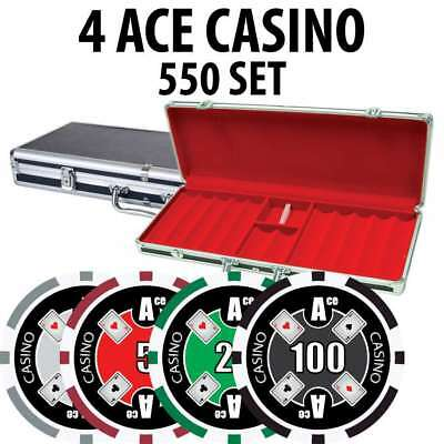 4 Ace Casino Poker Chip Set 550 Poker Chips with Aluminum Case