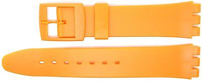 New 17mm (20mm) Resin Strap Compatible for Swatch® Watch - Orange - RG14O