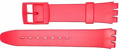 New 17mm (20mm) Resin Strap Compatible for Swatch® Watch - Red - RG14R