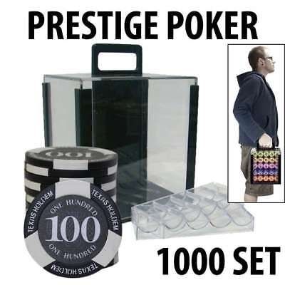 Prestige Poker Chips 1000 Poker Chip Set with Acrylic Carrier and Racks