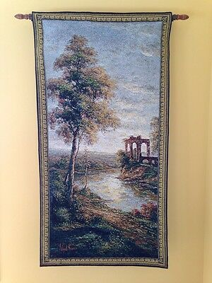 "Ancient Ruins Nigel Pierce Old World Art 50""x26"" Tapestry Wall Hanging NEW"