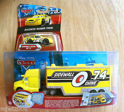 Disney PIXAR Cars SIDEWALL SHINE HAULER & RUBBER TIRE RACER diecast lot 2 bundle