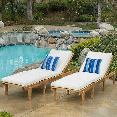 (Set of 2) Outdoor Teak Brown Wood Chaise Lounge with Cushion
