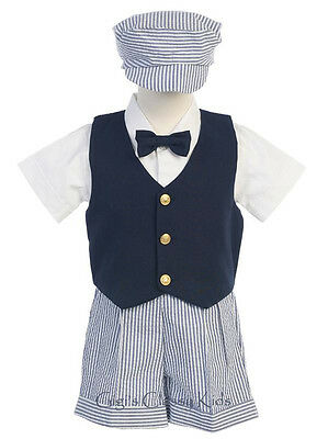 New Baby Toddler Boys White Navy Blue Shorts 5 Pc Set Outfit Easter Wedding G821
