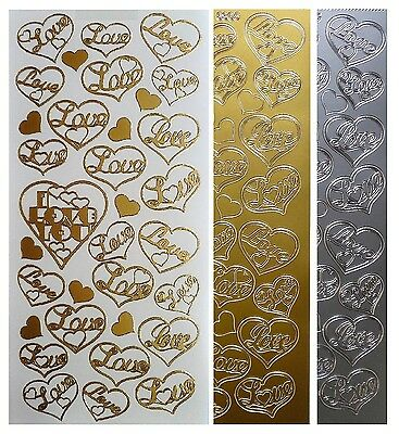 LOVE HEARTS Peel Off Stickers Card Making Wedding Stationery Gold or Silver