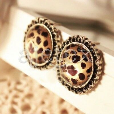 1pair Vintage Antique Brass Leopard Clear Ear Carved Round Stud Stone Earrings