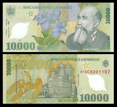 Romania 10,000 10000 Lei 2000 P 112 Polymer Unc (10 Notes)