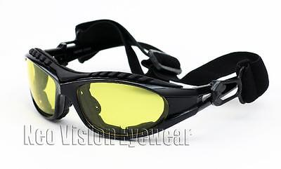 Shatterproof Padded Motorcycle Glasses Goggles Black Night Driving HD Yellow 453