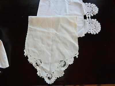 2 Vintage Vanity Scarves 1 Linen Cutwork Embroidery & 1 Cotton w/ Crochet Lace