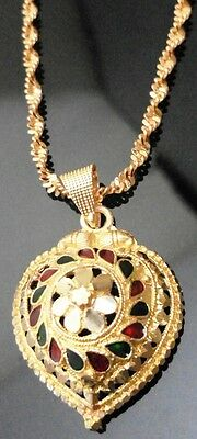 22k 24k Gold Plated Thai Indian Pakistan Bollywood Chain Necklace Locket Pendant