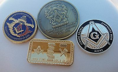 Masonic Coins & Bullion Bar 2/sided Gold,Silver,Antique Bronze plated, Lot of 4