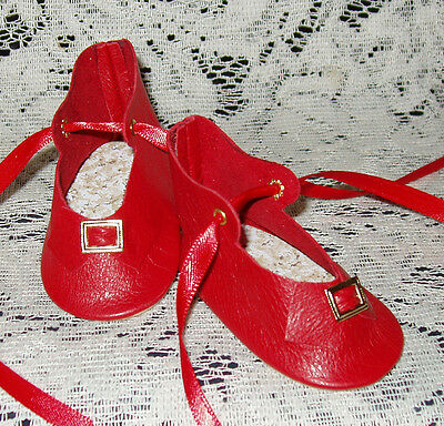 """Handmade Leather Doll Shoes ~ German Style ~ 3"""" x 1 1/2""""   Red"""