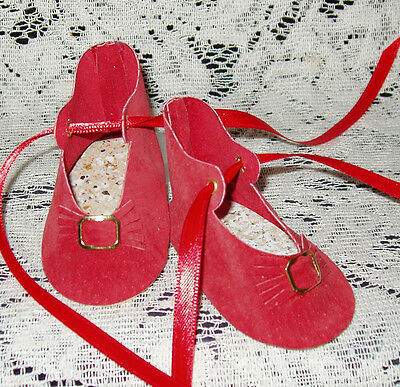 """Handmade Leather Doll Shoes ~ German Style ~ 3"""" x 1 1/2""""   Red Suede"""