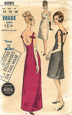 1960's VTG VOGUE One Piece Evening  Dress  Pattern 6085 Size 14