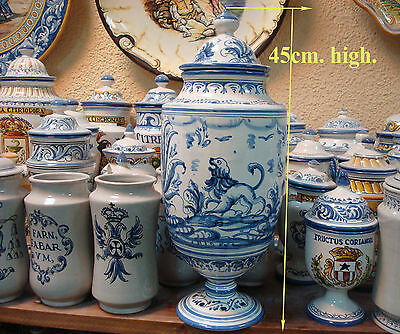 1 ALBARELO azul monter , 1 Apothecary Jar Pharmacy Drugstore Talavera Spain blue