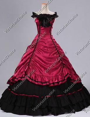 Victorian Southern Belle Saloon Dress Gown Vampire Witch Halloween Costume 135