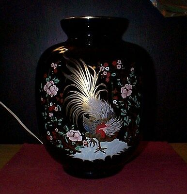 Huge  Vintage  Black With Floral And Gold Overlay  Glass Vase Excellent