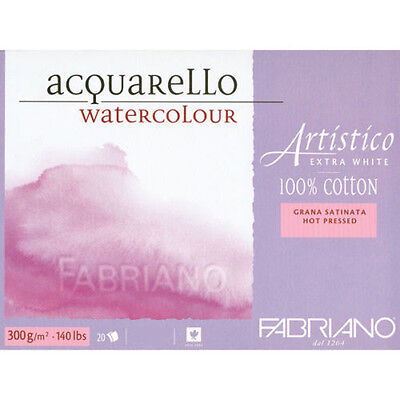 """Fabriano Artistico Watercolour Paper Extra White Block12""""x18"""" HP Smooth Surface"""