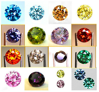 AAAAA Round Brilliant Cut Cubic Zirconia - Colour & Size Choice