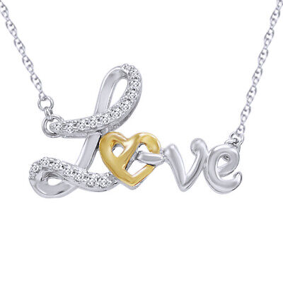 1/10ct Natural Diamond Heart in Love Pendant in 14K Gold Over Sterling Silver
