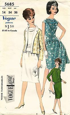 1960's VTG VOGUE SPECIAL DESIGN Evening Dress and Jacket Pattern 5685  14