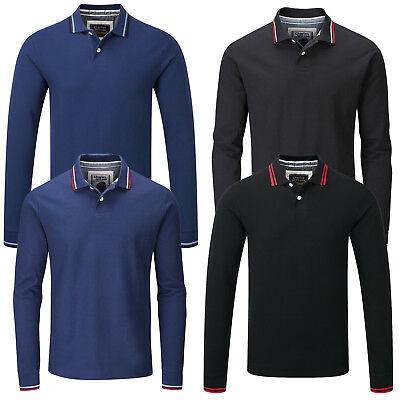 Charles Wilson Contrast Tipped Long Sleeve Pique Polo Shirt T-Shirt Tee Top 2017