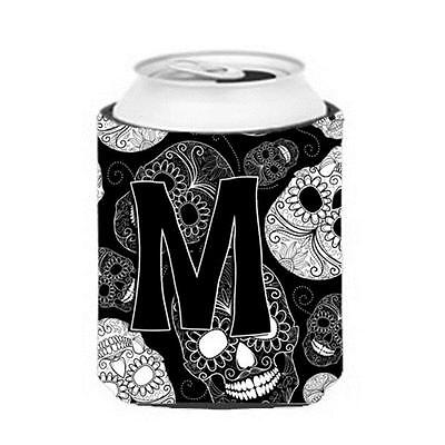 Carolines Treasures Letter M Day Of The Dead Skulls Black Can & Bottle Hugger