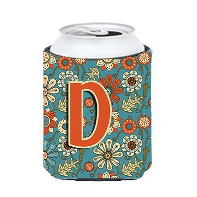 Carolines Treasures CJ2012-DCC Letter D Flowers Retro Blue Can & Bottle Hugger