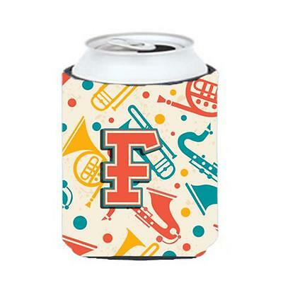 Letter F Retro Teal Orange Musical Instruments Initial Can & Bottle Hugger