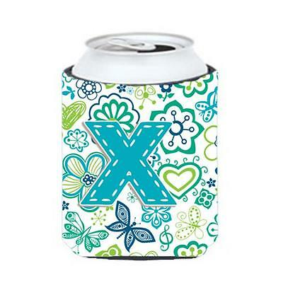 Letter X Flowers And Butterflies Teal Blue Can & Bottle Hugger