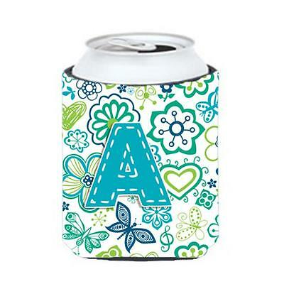 Letter A Flowers And Butterflies Teal Blue Can & Bottle Hugger