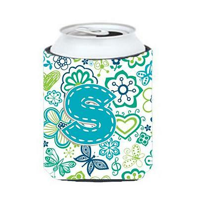 Letter S Flowers And Butterflies Teal Blue Can & Bottle Hugger