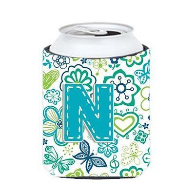 Letter N Flowers And Butterflies Teal Blue Can & Bottle Hugger
