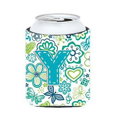 Letter Y Flowers And Butterflies Teal Blue Can & Bottle Hugger