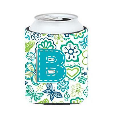 Letter B Flowers And Butterflies Teal Blue Can & Bottle Hugger