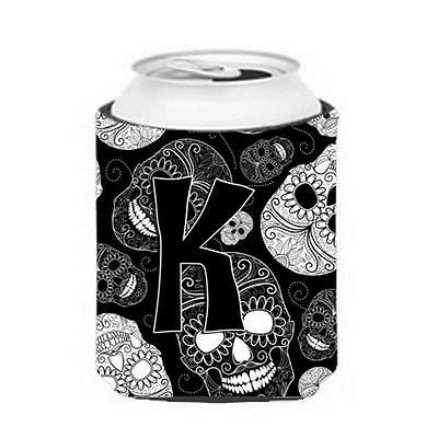 Carolines Treasures Letter K Day Of The Dead Skulls Black Can & Bottle Hugger
