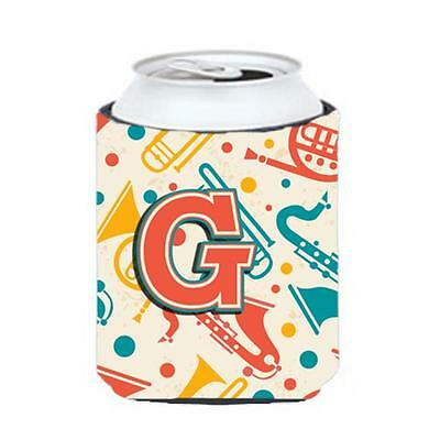 Letter G Retro Teal Orange Musical Instruments Initial Can & Bottle Hugger