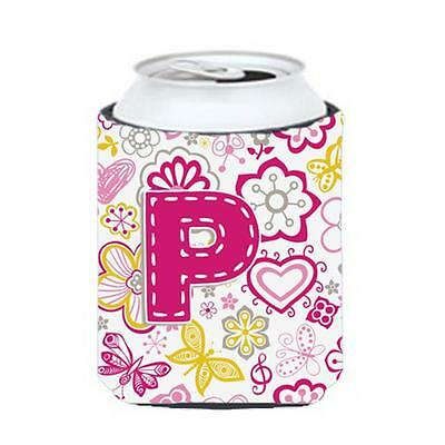 Carolines Treasures Letter P Flowers And Butterflies Pink Can & Bottle Hugger