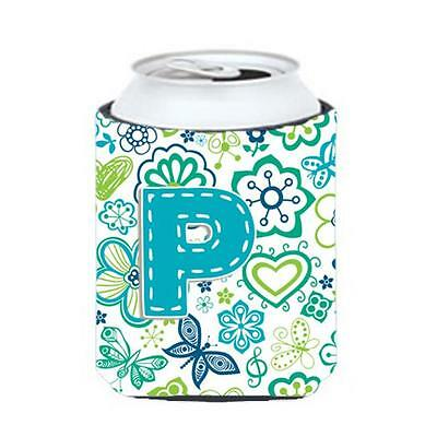 Letter P Flowers And Butterflies Teal Blue Can & Bottle Hugger