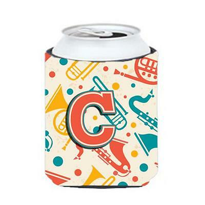Letter C Retro Teal Orange Musical Instruments Initial Can & Bottle Hugger