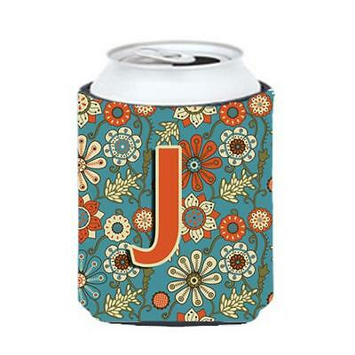 Carolines Treasures CJ2012-JCC Letter J Flowers Retro Blue Can & Bottle Hugger