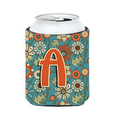 Carolines Treasures CJ2012-ACC Letter A Flowers Retro Blue Can & Bottle Hugger