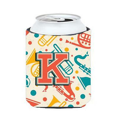 Letter K Retro Teal Orange Musical Instruments Initial Can & Bottle Hugger