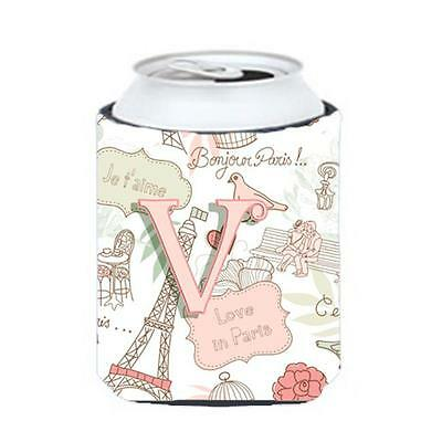 Carolines Treasures CJ2002-VCC Letter V Love In Paris Pink Can & Bottle Hugger • AUD 45.90