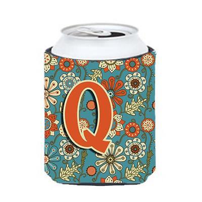 Carolines Treasures CJ2012-QCC Letter Q Flowers Retro Blue Can & Bottle Hugger
