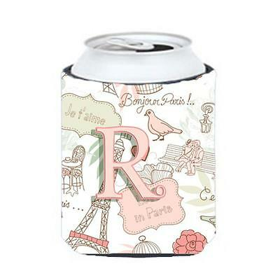 Carolines Treasures CJ2002-RCC Letter R Love In Paris Pink Can & Bottle Hugger