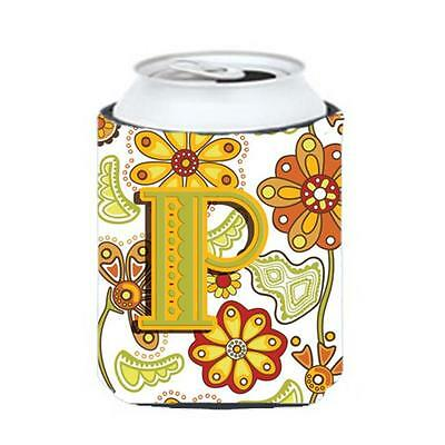 Carolines Treasures Letter P Floral Mustard And Green Can & Bottle Hugger • AUD 45.90