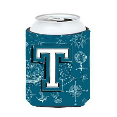 Carolines Treasures Letter T Sea Doodles Initial Alphabet Can & Bottle Hugger