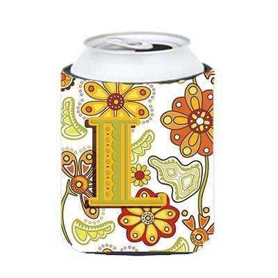 Carolines Treasures Letter L Floral Mustard And Green Can & Bottle Hugger