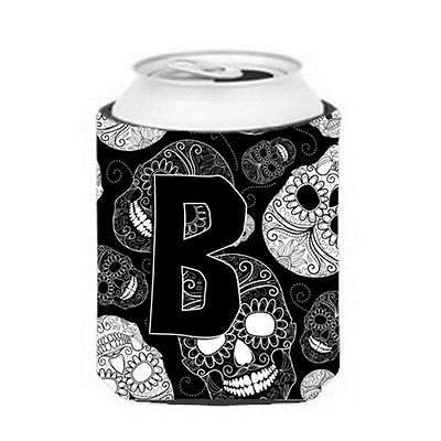 Carolines Treasures Letter B Day Of The Dead Skulls Black Can & Bottle Hugger